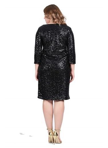 Angelino Butik Büyük Beden Payetli Abiye Elbise KL5601 Siyah